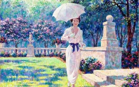 Обои Девушка в белом платье под белым зонтиком прогуливается по весеннему саду