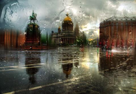 Обои Дождь на улицах и площадях Санкт-Петербурга, Россия / Saint-Petersburg, Russia, автор Александр Атоян