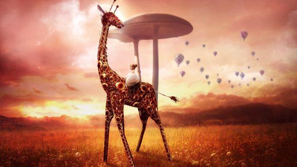 Обои Девочка сидит на сказочном жирафе на фоне фантастических грибов и воздушных шаров