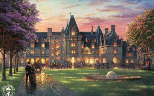 Обои В огромный особняк съезжаются люди на фоне закатного неба