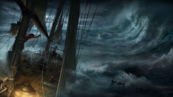 Обои Корабль в самом сердце сильного шторма