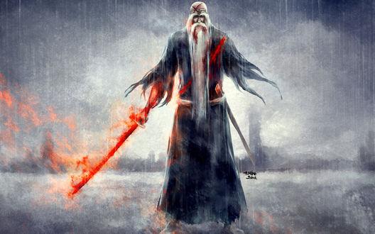 Обои Окровавленный Ямамото Генрюусай Шигекуни / Yamamoto Genryuusai Shigekuni из аниме Блич / Bleach с мечом, стоит под дождем, art by NanFe
