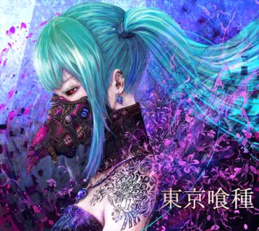 Обои Vocaloid Hatsune Miku / Вокалоид Хатсуне Мику в образе гуля из аниме Tokyo Ghoul / Токийский гуль, art by yamamoto ari