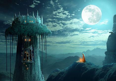 Обои Человек, стоящий на горном выступе возле горящего костра, напротив необычного ствола дерева со светящимися окошками и дверями, свисающими цепями с земляной шляпы, расположенной на вершине этого дерева и замком, на фоне пасмурного неба и взошедшей планеты, выше человека сидит ворона, автор sasha-fantom