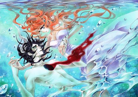 Обои Ulquiorra Cifer / Улькиорра Шифер и Орихиме Иноуэ / Inoue Orihime из аниме Блич / Bleach