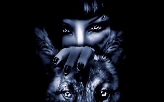 Обои Девушка положила руку на голову волка