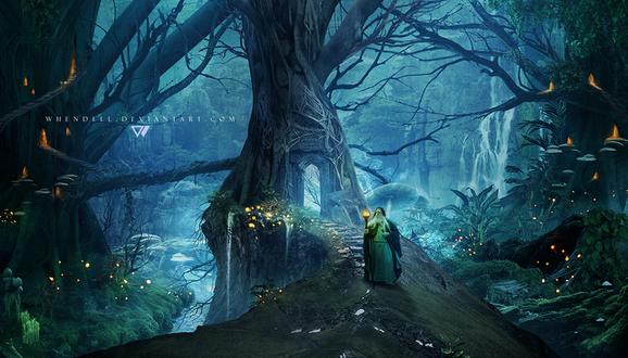Обои Седовласый старец, держащий в руке посох со светящимся, магическим шаром, спускающийся по каменным ступенькам, выходящим из арки в стволе дерева в окружении множества горящих фонариков, расположенных в дуплах дерева и большого количества мерцающих в траве светлячков, автор Whendell