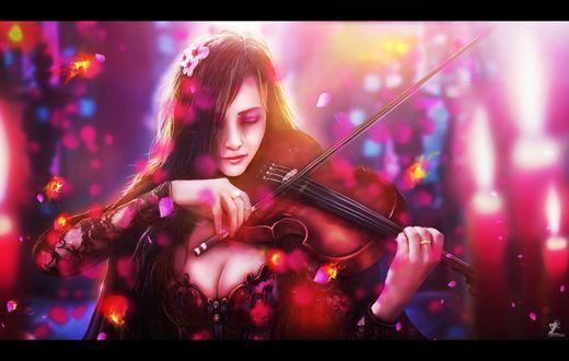 Обои Девушка закрыв глаза играет на скрипке, вокруг нее летают горящие лепестки роз