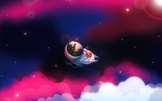 Обои Персонаж мультфильма Ежик в тумане Ежик летит в скафандре в космосе