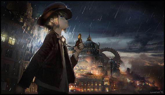 Обои Парень смотрит на карманные часы, стоя под дождем