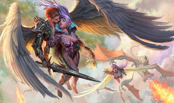 Обои Парень и девушка-ангелы