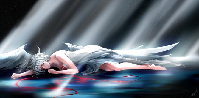 Обои Девушка - ангел с красной лентой лежит на фоне ночного неба с лучами света, по yuuike