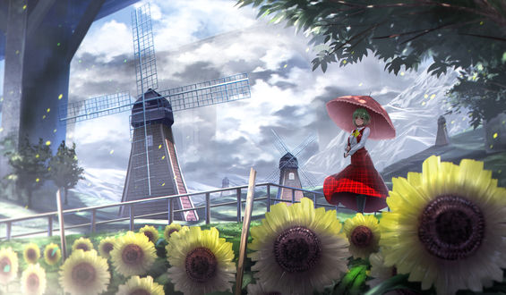 Обои Kazami Yuuka / Юка Казами с зонтом в руках стоит на поляне где растут подсолнухи, на заднем фоне видны ветряные мельницы, горы и огромные мосты, персонажи из серии компьютерных игр Touhou Project / «Проект «Восток»», art by Ryosios