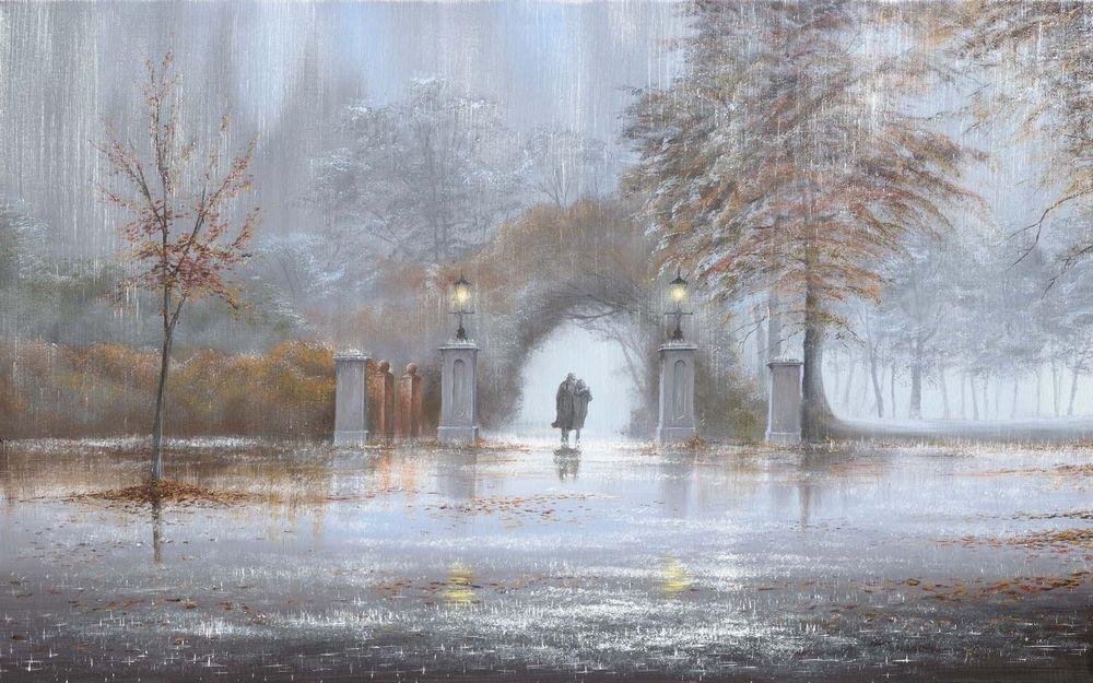 Обои для рабочего стола Двое влюбленных идут по осеннему парку под дождем