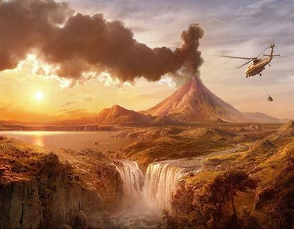 Обои Извержение вулкана, водопад и летящий в небе вертолет с грузом