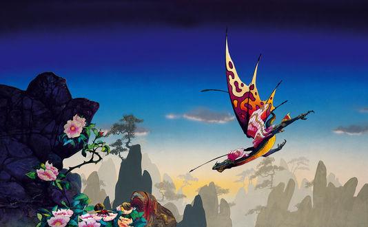 Обои Дракон с разноцветными крыльями летит над горами, поросшими великолепными цветами, работа английского художника Роджера Дина / Roger Dean