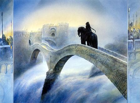 Обои Черный всадник на мосту, фрагмент фильма Властелин колец, художник Джон Хоу