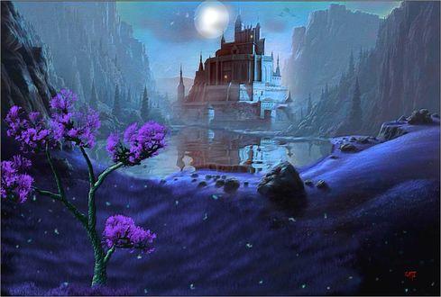 Обои Замок, стоящий среди гор и цветущее дерево у воды, на фоне луны