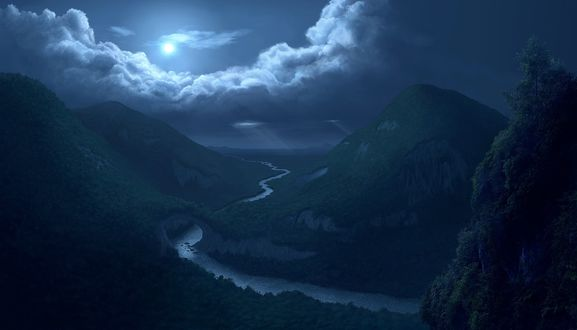 Обои Река, проходящая среди холмов с деревьями освещается ночным небом