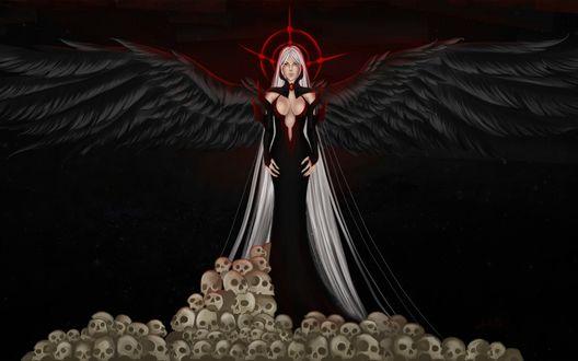 Обои Девушка с длинными волосами и черными крыльями стоит на человеческих черепах, by Churail