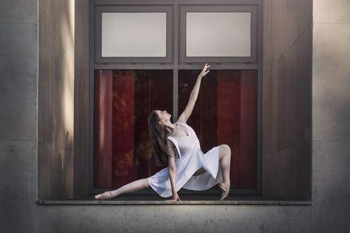 Обои Балерина делает гимнастическое упражнение на подоконнике открытого окна
