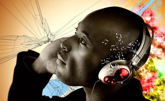Обои Мужчина африканской наружности в наушниках из которых вылетают музыкальные ноты, слушает музыку. Вокруг его головы изображена абстракция