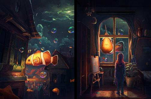 Обои Девочка смотрит на больших рыб, плавающих за окном, art by sylar113