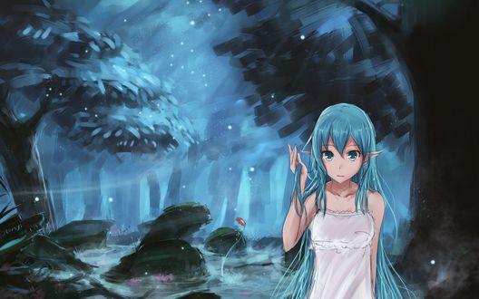 Обои Эльфийка с голубыми волосами и глазами, в белом платье, у туманного болота в темном лесу