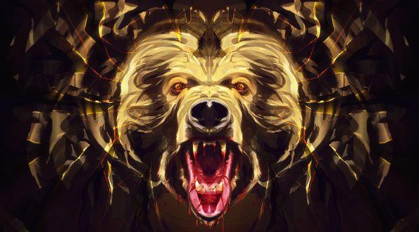 Обои Рисунок головы разъяренного медведя с раскрытой огромной окровавленной пастью