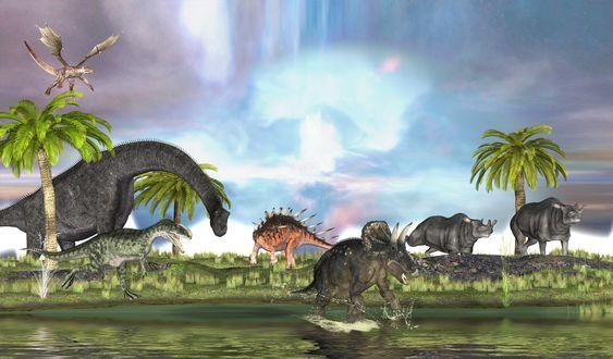 Обои Рисунок ископаемых животных на фоне природы