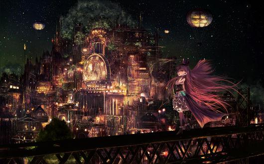 Обои Девочка стоит на перилах на фоне ночного фантастического города