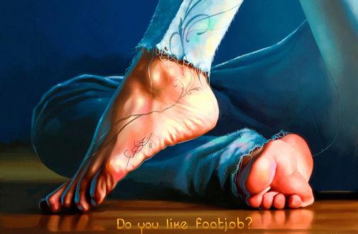Обои Женские босые ноги с тату, в джинсах, на деревянном полу, Do you like footjob?