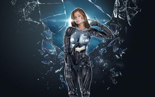 Обои Девушка андроид стоит на фоне разбитого стекла