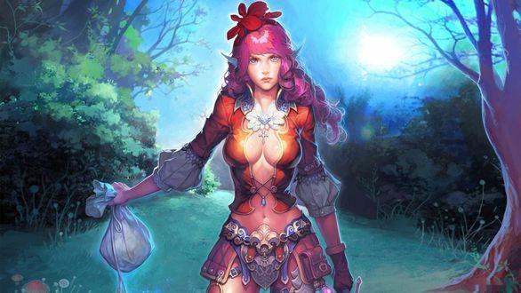 Обои Девушка леприкон стоит с мешочком в руке на лесной дороге