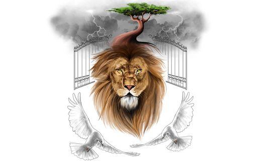 Обои Голова льва с растущим деревом из его гривы. Сзади железные ворота и грозовые тучи с молниями. Снизу летают два голубя