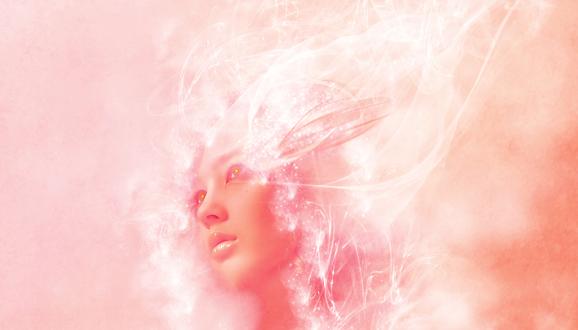 Обои Голова девушки в розовом абстрактном тумане