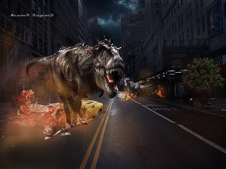Обои В ночном городе два динозавра рушат машины, Малышев Владимир