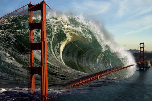 Обои Огромная волна цунами накрывает Бруклинский мост, который пересекает пролив Ист-Ривер и соединяет Бруклин и Манхэттен в городе Нью-Йорке, США / New York, USA