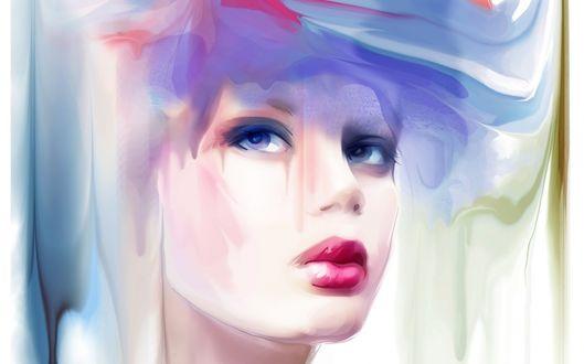 Обои Рисунок девушки с пухлыми губками, художница Татьяна Никитина