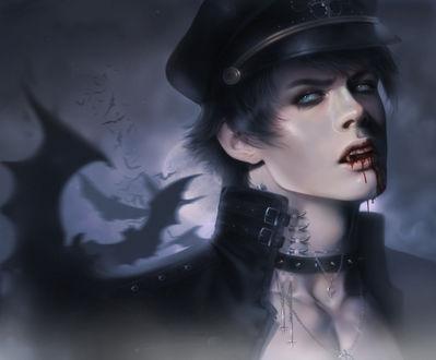 Обои Вампир на фоне ночного неба и полной луны, by Zeilyan