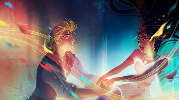 Обои Герои мультфильма Покахонтас / Pocahontas / капитан корабля Джон Смит и индейская принцесса Покахонтас держатся за руки