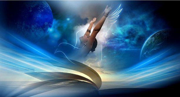 Обои Девушка в абстрактных линиях и в контуре птицы, подняла вверх руки, мечтая взлететь в небеса, как птица