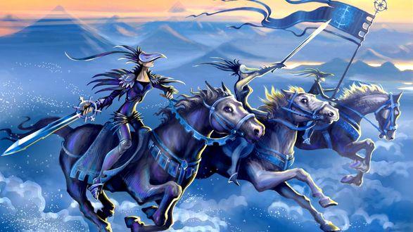 Обои Всадники Апокалипсиса мчатся на лошадях при полном вооружении