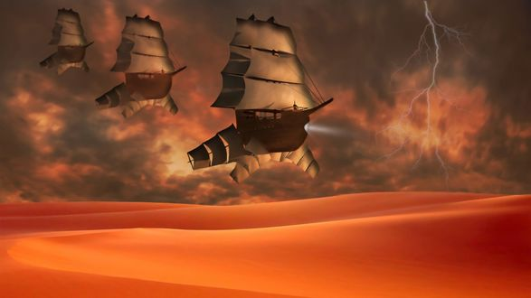 Обои Над барханами пустыни летит в небе армада фантастических воздушных кораблей с парусами