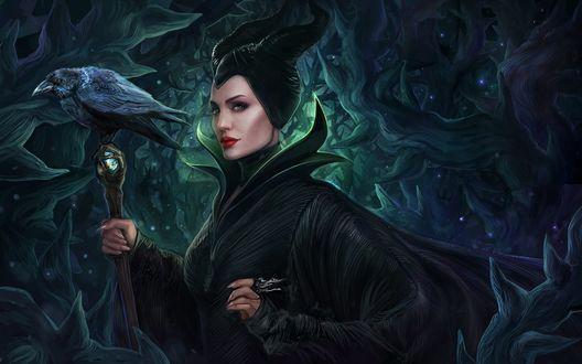 Обои Актриса Анджелина Джоли / Angelina Jolie в роли Малефисенты / Maleficent, в одноименном фильме Малефисента / Maleficent