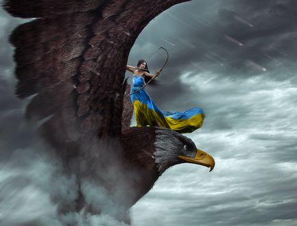 Обои Девушка в сине - желтом платье целится с лука, стоя на громадном орле