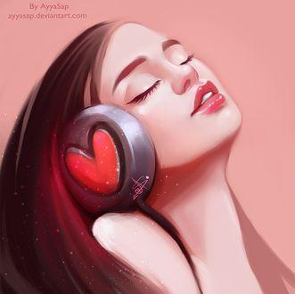 Обои Девушка запрокинув назад голову и закрыв глаза, слушает музыку в наушниках с красным сердцем в середине, By AyyaSap ayyasap. deviantart. com