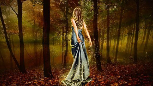 Обои Светящаяся девушка в длинном платье идет по осеннему лесу, придерживая сзади подол платья