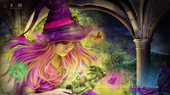 Обои Девочка с волшебной книгой, by erool
