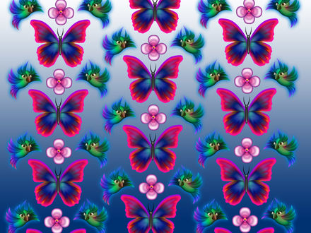 Обои Текстура в виде повторяющихся бабочек и птичек